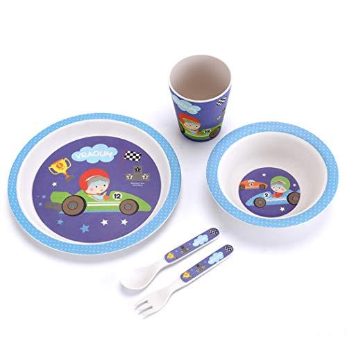 ZT Set vajilla Infantil de bambú sin BPA, 5 Piezas, Servicio de Mesa cubertería para niños Vaso de Beber Plato para niños, Ecológico y Biodegradable. (Coche 1)