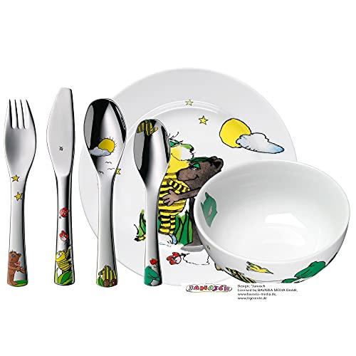 WMF Janosch - Vajilla para niños 6 piezas, incluye plato, cuenco y cubertería (tenedor, cuchillo de mesa, cuchara y cuchara pequeña) (WMF Kids infantil)