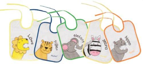 Playshoes 507145 - Pack de 5 baberos con imágenes divertidas de animales, 25 x 20 cm, multicolores