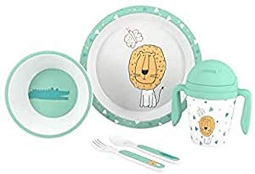 Interbaby SET19 - Interbaby - Vajilla para Bebé de 5 Piezas, Modelo Sabana, blanco