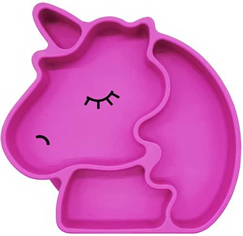 Kidoo - Plato Infantil de Silicona - Vajilla de Bebé Antideslizante | 100% Libre de BPA - Aprobado por la FDA - Base Adherente - Apto para Lavavajillas y Microondas - No Tóxico (Rosa, Unicornio)
