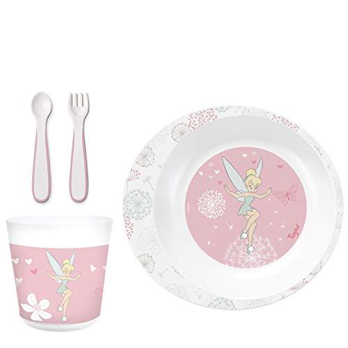 Tigex - Juego de vajilla con plato hondo, vaso, tenedor y cuchara, para diversificación de niños pequeños, apto para microondas, diseño de Campanilla Disney