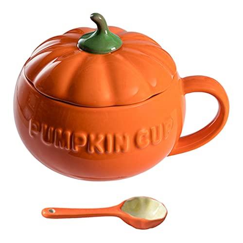 Angoily Tazas de Calabaza de Halloween Taza de Café de Cerámica con Tapa Taza de Sopa de Leche para El Hogar (Naranja)