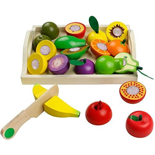 yoptote Frutas de Madera Cortar Frutas Surtido Verduras Juguetes Montessori Comida Madera Cocinas de Juguete para Niños Regalos de Día del Niño Cumpleaños Infantiles