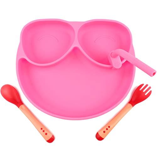 HASAGEI Plato infantil con ventosa para bebé, plato de silicona antideslizante, lavable, juego de vajilla para niños, plato para bebé, plato para bebé, con cuchara y pajita (rosa)
