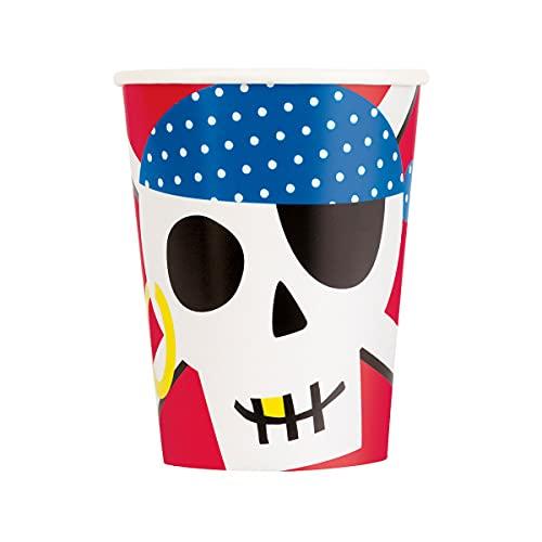 Unique Party Party Paper Cups   8 Pcs. Vasos de papel para fiesta pirata, 8 unidades, multicolor (78416)