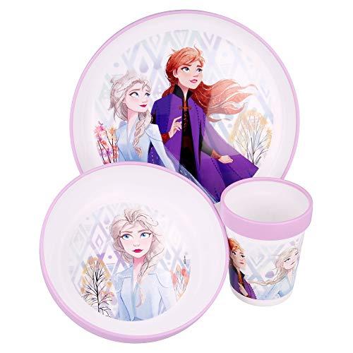 FROZEN 2  Vajilla infantil bicolor- Set de 3 piezas: Plato, cuenco y vaso para niños - Vajilla Bebé Antideslizante con base de silicona - Libre de BPA