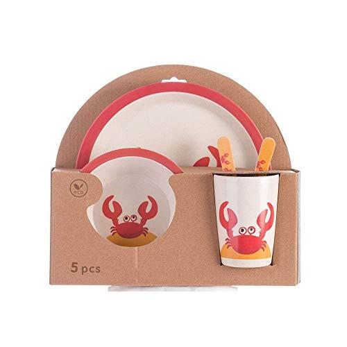 Plato de Dibujos Animados para el Compartimento del bebé, Juego de Tenedor de Cuchara para el hogar con suplemento de Comida para bebés, Cinco, Oso Rosa