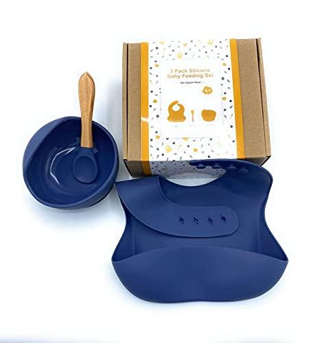 Juego de vajilla para bebes, babero silicona impermeable + Bowl con ventosa de seguridad y cuchara de silicona, Set de vajilla bebes, vajilla para bebes, cuenco con ventosa para bebes. (Azul Oscuro)