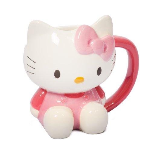 Hello Kitty - Taza, diseño de Hello Kitty, color blanco y rosa