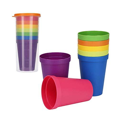 CYH Vasos Plastico de Colores, 7 Piezas Vasos de Plástico Duros Reutilizables, Irrompibles, Vasos de Viaje, Vasos de Bebida, Libres de BPA, para Camping, Senderismo, Fiesta