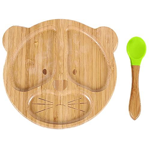 Gobesty Juego de vajilla para bebé, plato para bebé de bambú con ventosa antideslizante, cuchara a juego, plato para bebé (hay dos estilos)