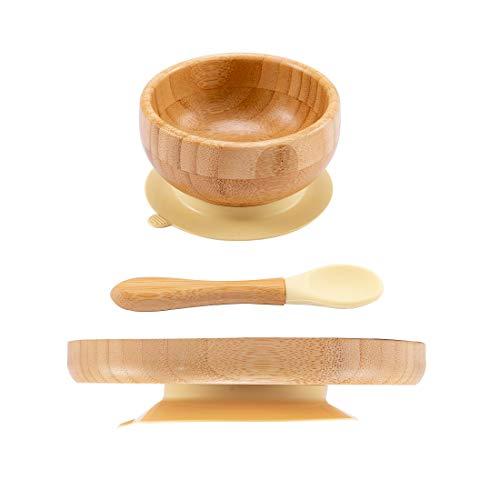 Promise Babe Juego de platos de bambú Cuenco de destete de bambú Cuenco y plato de bambú natural con ventosa para bebés (cuenco + plato + cuchara amarillo)