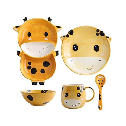 WENHAO LJW Bowl Cute 1 persona Juego de vajillas Dibujos animados de animales Cerámica para niños Placa de sopa Placa de cuenco para bebés Cubiertos de bebé 5 piezas Set Código de productos básicos:LJ