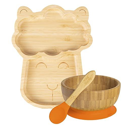 Tiny Dining Conjunto de cena de Llama de succión de bambú para niños - Fibra natural Bebé Niño Stay PUT PUT MEJORADO PULSO DE ALIMENTACIÓN - Naranja