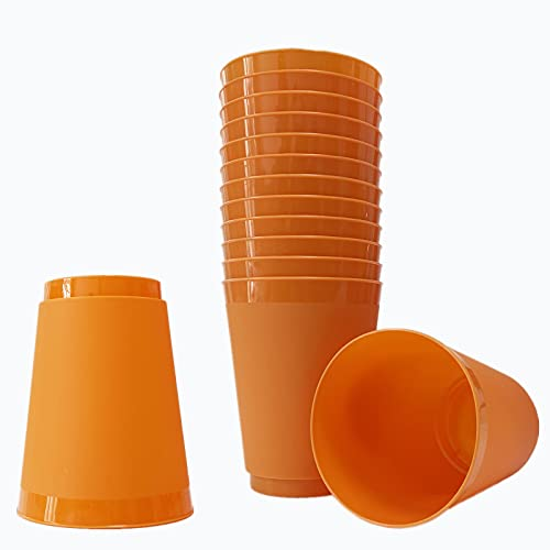 Vasos desechables de plástico duro para cerveza, 450 ml, reutilizables para fiestas, bodas, aniversarios, barbacoas, suministros de cumpleaños (paquete de 12) (naranja)