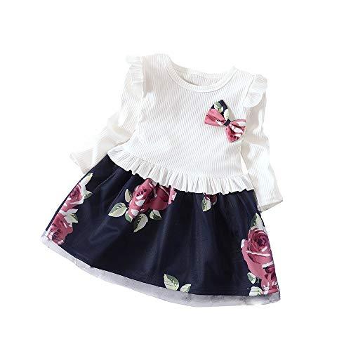 Vestido de Princesa de niña Verano con Estampado de Flores y Lazo de Manga Larga para niños Muchacha Encantadora Ropa de Bebe Casual 2019 Camisetas Tops riou