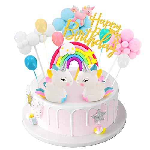 DUOUPA Decoración para tarta de cumpleaños con unicornio, arco iris, guirnalda de cumpleaños, globo, nube, decoración para tartas, para niños, niñas y niños