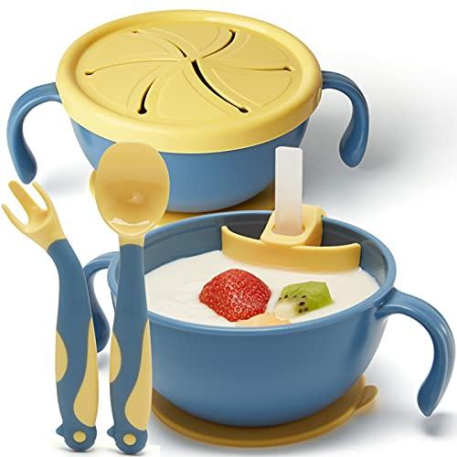 Vajilla Bebe Cuenco Bebe con Cuchara y Tenedor Flexibles, Platos Bebe con Base de Succión con Pajita para Bebés, Vajilla Infantil Antideslizante Cuencos de Merienda a Prueba de Derrames, Azul Amarillo