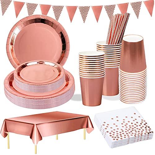 YIMAKJ Juego de vajilla de fiesta de oro rosa, 25 invitados, vasos de papel desechables para fiestas, cumpleaños, bodas, aniversarios, graduaciones, Halloween, color dorado y negro