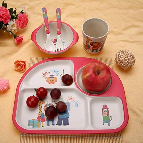 Vajilla segura para niños, vajilla ligera no tóxica de 5 piezas/juego de fibra de bambú para niños, para bebé(Monkey party)