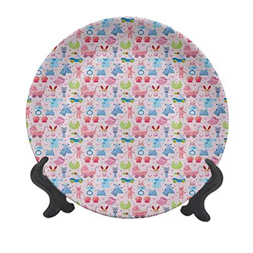 Plato decorativo de cerámica de 20,32 cm para bebé, diseño alegre, diseño de oso de peluche, conejo, conejo, cumpleaños y niñas, plato decorativo de cerámica para mesa de Navidad