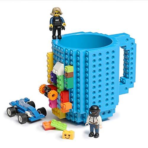 Lumsburry Build-On Brick Mug Taza de café de bricolaje Bloques de construcción creativos para café Bebida de té bebida divertida regalo (Azúl)