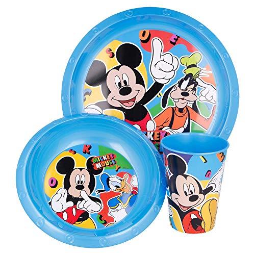 MICKEY MOUSE | Set Vajilla Infantil - Resistente | Servicio de Mesa libre de BPA para niños y bebés - 3 Piezas: Vaso, Plato y Cuenco