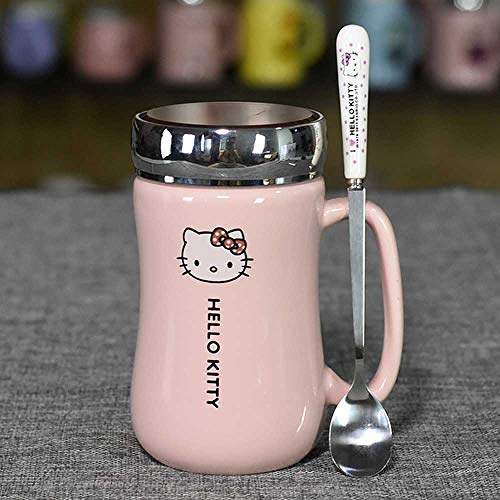Taza de cafe Cartoon Hello Kitty Ceramic Kettle Lady Girl 430ML Kettle Cup with Coaster Spoon Cover A