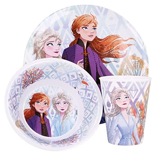 Frozen 2   Set Vajilla de Melamina Infantil - Resistente I Servicio de Mesa Libre de BPA para niños y bebés - 3 Piezas: Vaso de Beber, Plato y Cuenco