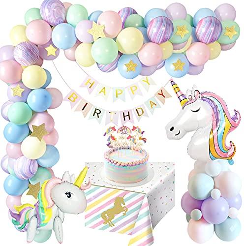 weeyin Decoración Cumpleaños Unicornio Niña, Unicornio Cumpleaños Decoracion con Enorme 3D Cumpleaños Unicornio Globo, Fiestas Infantiles Decoracion Cumpleaños Niña Happy Birthday Bandera Reusable
