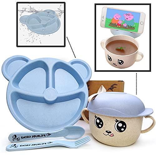 Set  Plato Bebé Compartimentos con Cubiertos + Taza Infantil de Diseño con Cuchara | Vajilla Bebé Azul Sin BPA | Ideal BLW | 5 piezas | Niño y Niña | Apto para Microondas