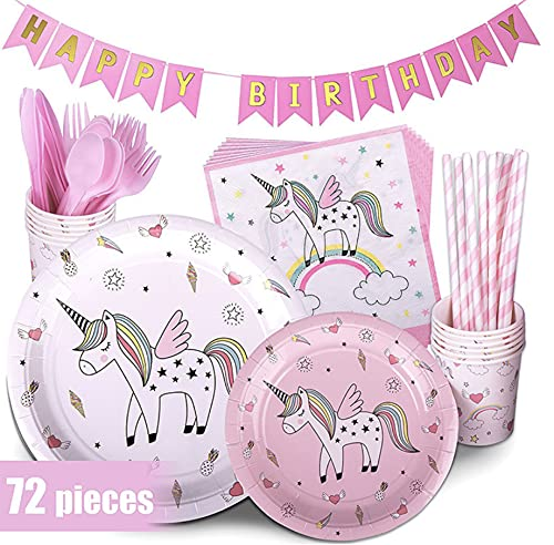 Set de Fiesta de Unicornio,Decoracionescumpleaños Unicornio,Decoración de Fiesta de Unicornio,Kit de Vajilla de Cumpleaños de Unicornio,Conjunto de Fiesta de Cumpleaños (arcoíris)