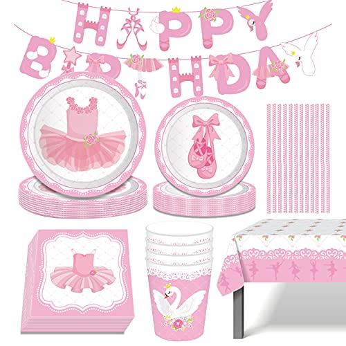 Amycute Suministros de Fiesta de Cumpleaños para Niñas, 71Pcs Vajilla Rosa con Banner, Platos, Vasos, Servilletas, Paja, Mantel, Vajillas de Cumpleaños Decoracion Baby Shower