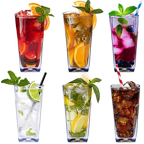 Ulable Vasos de agua de plástico transparente reutilizables de 12 onzas, vasos apilables inastillables, transparentes para beber, vasos irrompibles sin BPA, juego de 6