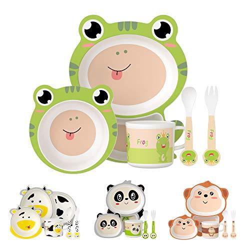 H HOMEWINS - Vajilla infantil de 5 piezas, linda forma de rana, vajilla infantil de bambú ecológica para bebés a partir de 6 meses - plato apto para lavavajillas, cuenco, taza, cuchara y tenedor