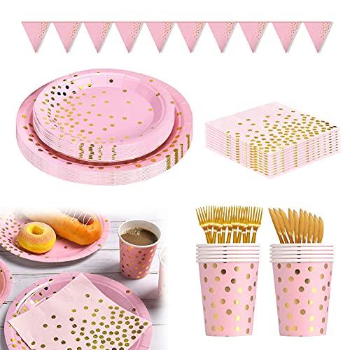 Platos Fiesta,Vajilla Papel Reutilizable Cubiertos Cumpleaños ,Platos de papel desechables, Juego de vajilla de fiesta, Vajilla de papel para cumpleaños, Platos de papel desechables (Rosa-A)