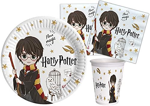 Ciao- Kit Mesa Fiesta Party Harry Potter de papel compostable FSC para 8 personas (50 piezas: 8 platos Ø23cm, 12 vasos, 30 servilletas), Y6166