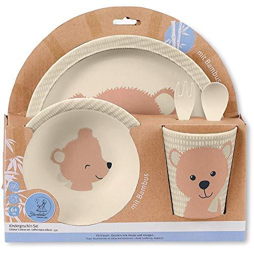 Sterntaler Vajilla infantil de bambú Baylee, 5 piezas, Dulce Motivoo de oso, Rosa
