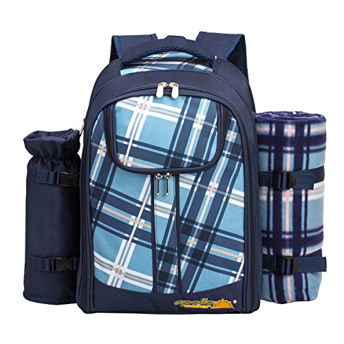 apollo walker Mochila de Picnic de ALLCAMP, para 2 Personas, con Bolsa térmica, vajilla y Manta de Forro Polar, Azul