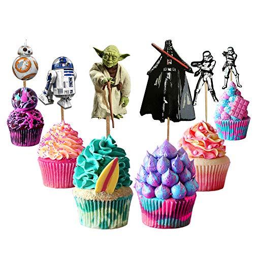 Decoración para tartas de Star Wars, 48 piezas, decoración para tartas de Star Wars, decoración de tartas para fans de Star Wars, fiesta de cumpleaños para niños