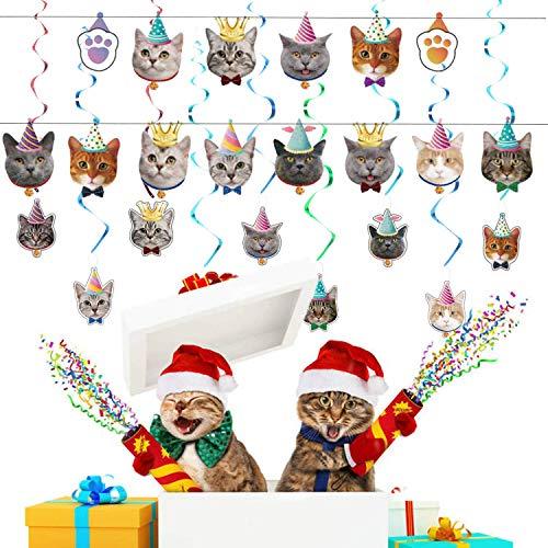 OBSGUMU Gato Fiesta Cumpleaños Decoración, 14 paquetes Banner de cumpleaños de gato 24 paquetes de decoración para cupcakes de gato y 9 paquetes de decoración de remolino para colgar cara de gato
