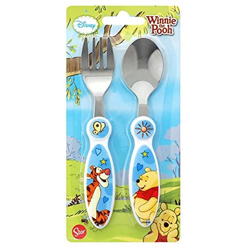 P: os 68919Disney Winnie The Pooh–Cubertería, acero inoxidable, 2piezas, tenedor y cuchara