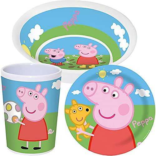Juego de vajilla infantil de Peppa Pig para desayuno, 3 piezas, Anna Elsa, juego de vajilla de camping de melamina estable, para niños y niñas, a partir de 6 meses, sin BPA (Peppa Pig.