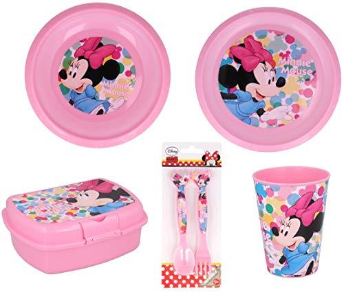Vajilla infantil de 6 piezas de Minnie Mouse para niños y niñas. Contiene plato, vaso, tenedor, cuchillo, cuenco y sandwichera (Minnie Mouse - 6pcs)