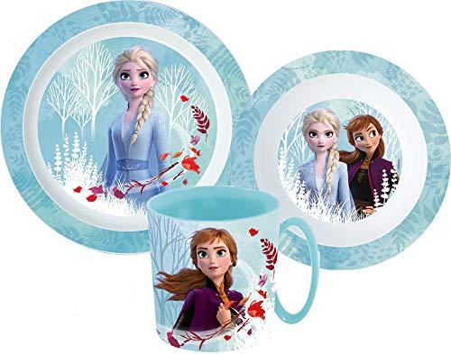 Juego de vajilla infantil de Frozen con plato, cuenco para cereales y vaso, incluye cubiertos.