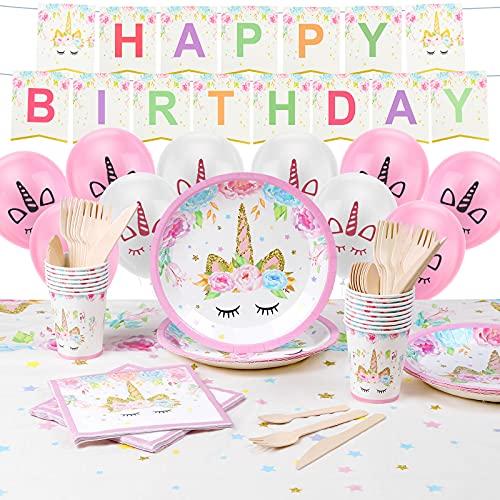 ACWOO Vajilla para fiestas y cumpleaños para niños, 143 piezas, decoración de cumpleaños de unicornio, kit de unicornio para 16 invitados incluidos vajillas, globos, manteles y accesorios