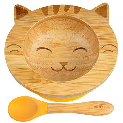 Cuenco ventosa para bebé y cuchara de bambú natural | El original 'Bambol' de Finkolo | Forma de gato | Vajilla de aprendizaje | Caja de comida plata, etc