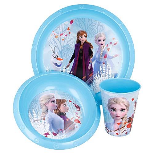FROZEN 2   Set Vajilla Infantil - Resistente   Servicio de Mesa libre de BPA para niños y bebés - 3 Piezas: Vaso, Plato y Cuenco