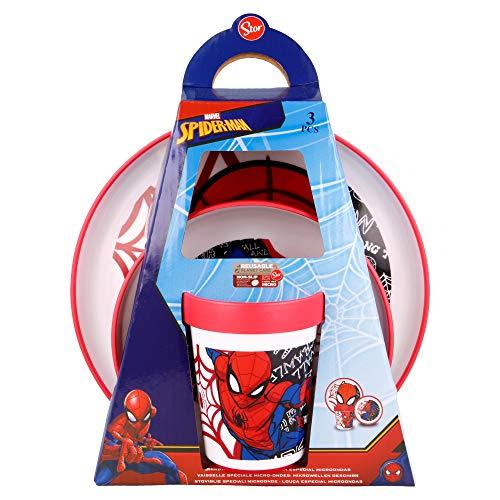 SPIDERMAN |Vajilla infantil bicolor- Set de 3 piezas: Plato, cuenco y vaso para niños - Vajilla Bebé Antideslizante con base de silicona - Libre de BPA